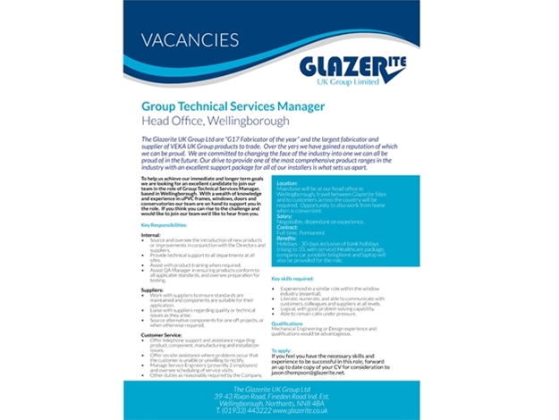 Group Technical Services Manager - Wellingborough